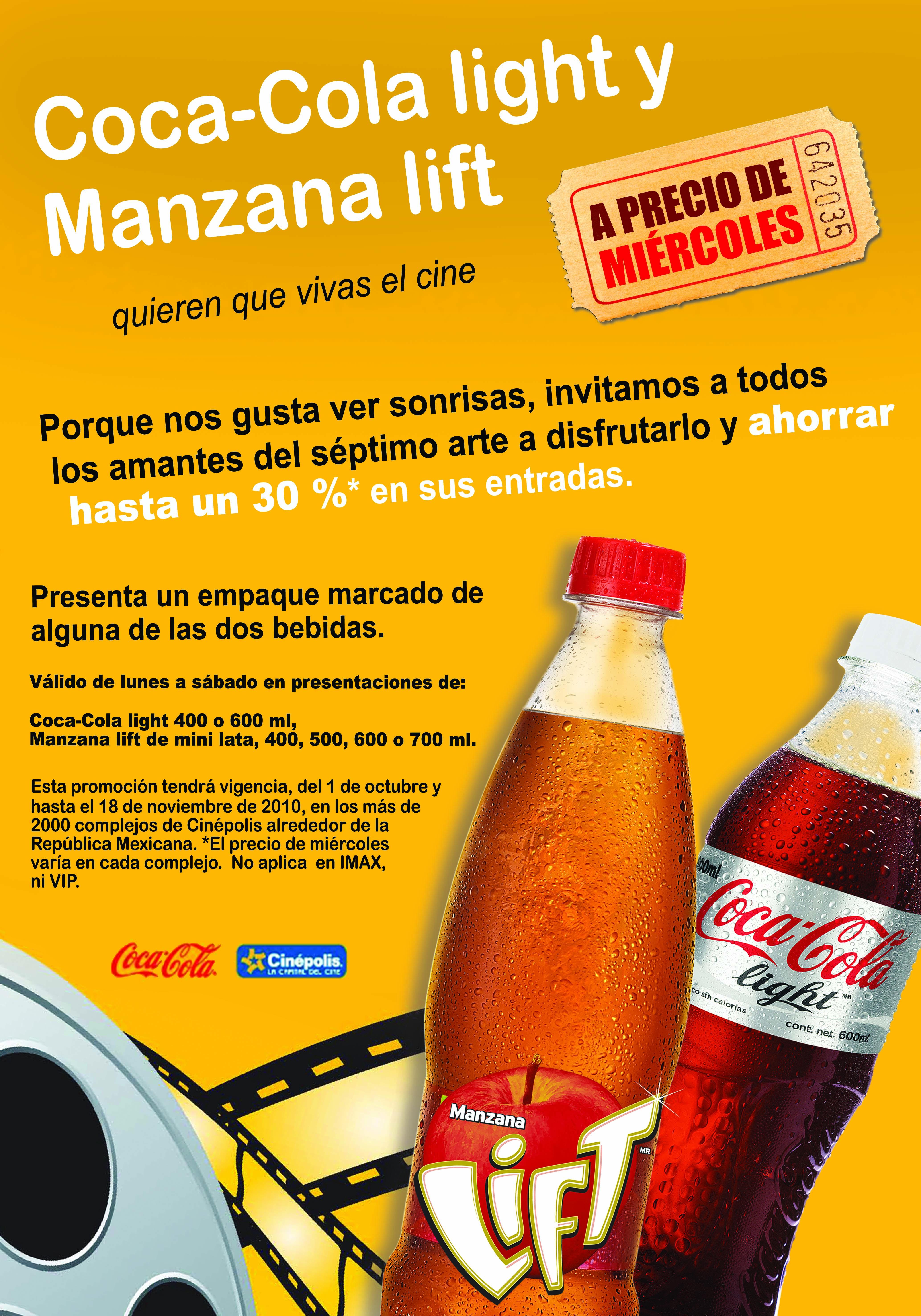 Promoci n coca cola light y cin polis revista merca2 0 for Cines arenys precios