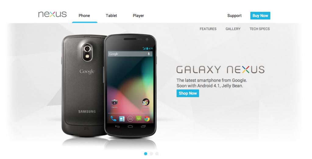 Google Nexus sitio web