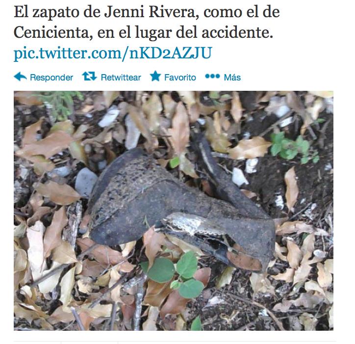 Tweet de López Dóriga sobre zapatilla de Jenni Rivera