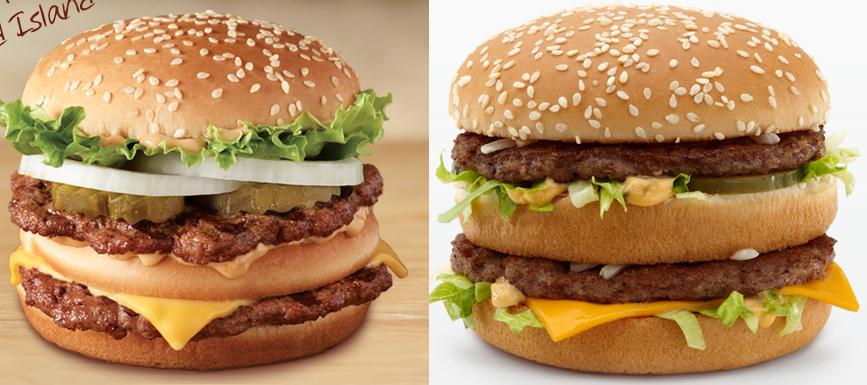 Big King izquierda, Big Mac derecha. Foto: reasonwhy.es