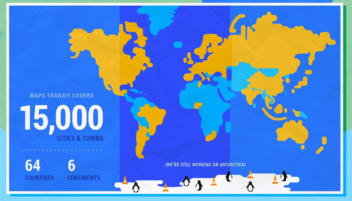 Google maps se expande hacia el transporte pblico revista merca20 imagen google maps blog google maps tiene una cobertura de 15 mil ciudades en 64 pases de 6 continentes gumiabroncs Image collections
