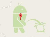 """Un mensaje """"oculto"""" en Google Maps en el que Android se burla de Apple"""