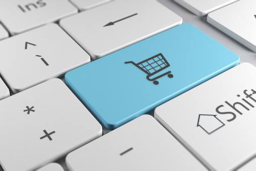 Stylish keyboard close up view with shopping chart key