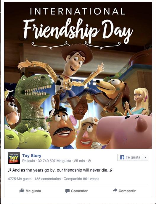 Día internacional de la amistad Toy Story