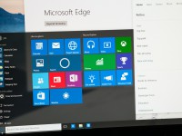 Bucharest Romania - June17 2015: Photo of Windows 10 Insider preview running on a pc screen with the new Edge browser. Windows 10 is the new version of Windows OS; it is set for release on July 29 2015.