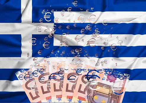 20 euro banknote dissolving as  crisis in greece