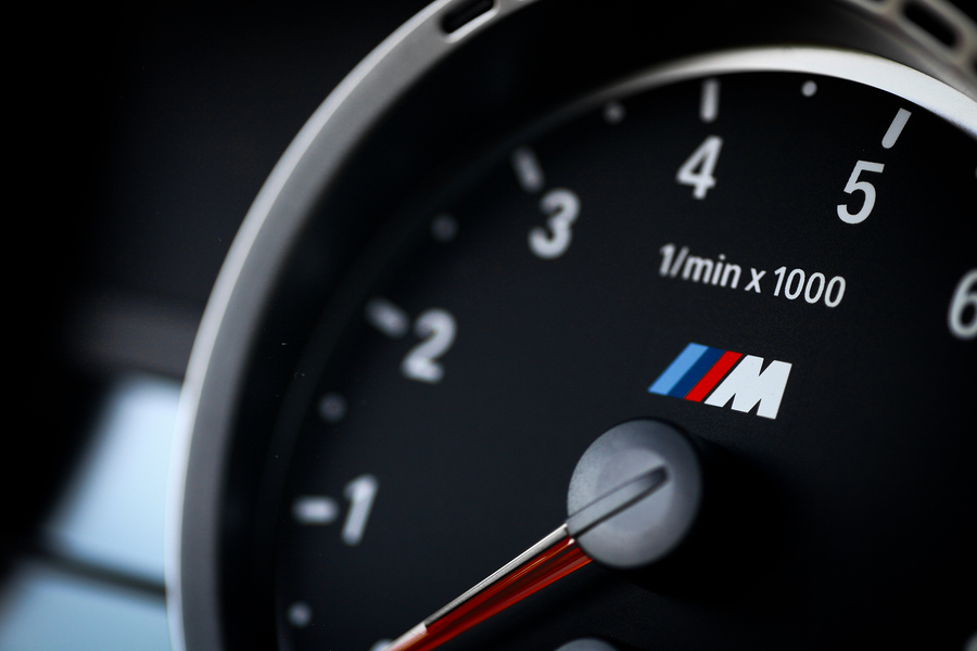 Bucharest Romania - July 4 2013: Detail of the tachometer of a BMW M3 car. The BMW M3 is a high-performance version of the BMW 3-Series developed by BMW's motorsport division BMW M.
