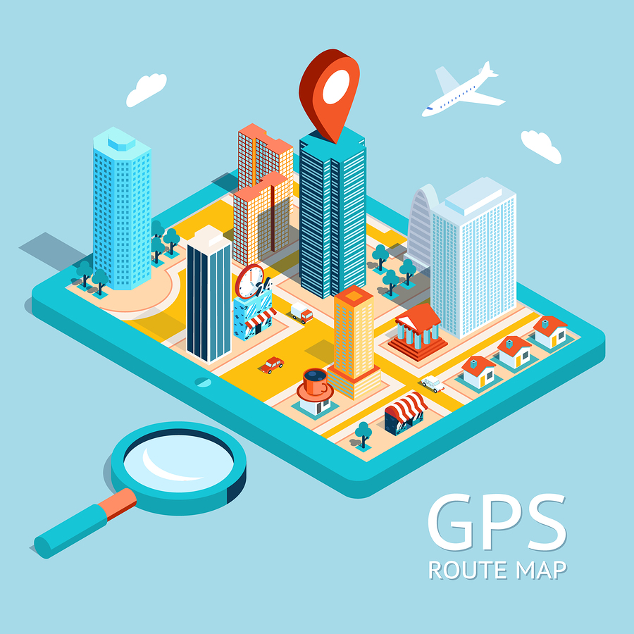 Map a small town on the tablet with the specified destination point. GPS route map. City navigation app. Vector illustration