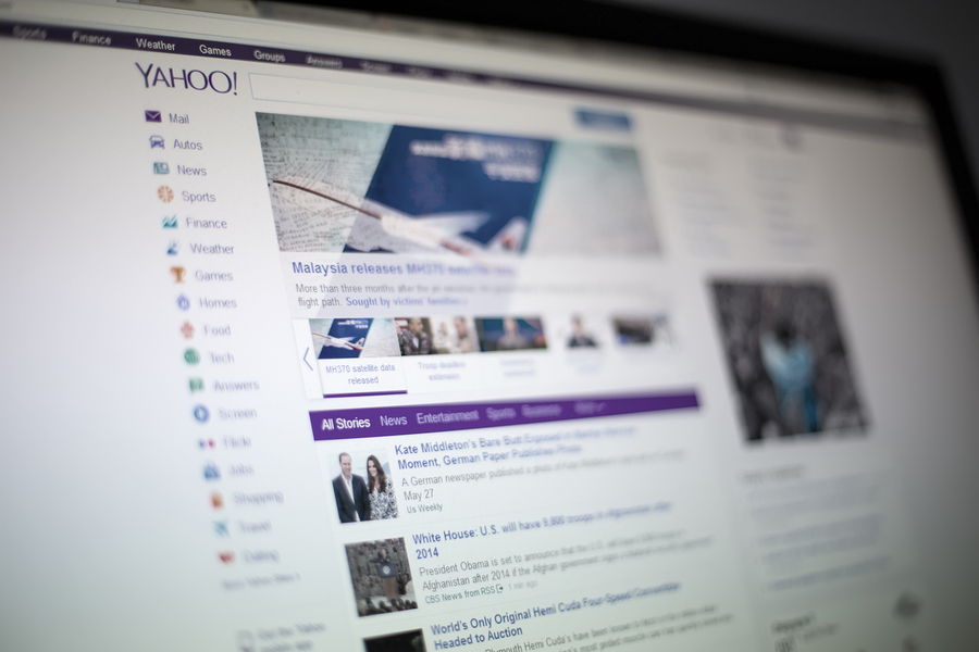 BELGRADE, SERBIA - MAY 27, 2014: Yahoo web site on the computer screen. Yahoo is an American multinational Internet corporation founded at 1994.