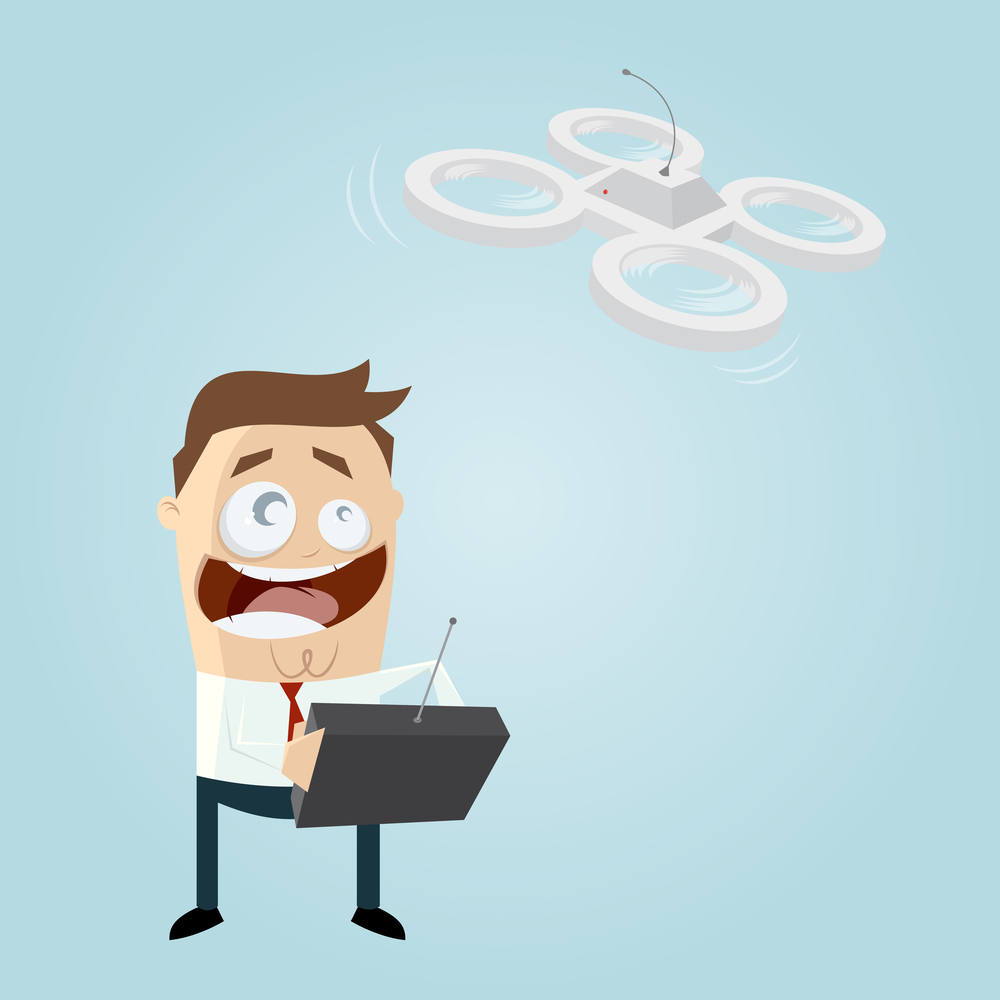 funny businessman is playing with a drone