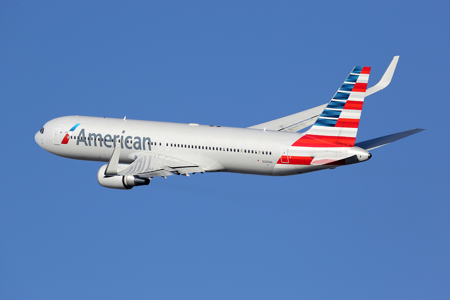 BARCELONA SPAIN - DECEMBER 11: An American Airlines Boeing 767 taking off on December 11 2014 in Barcelona. American Airlines is the world's largest airline with 619 aircraft and 108 million passengers.