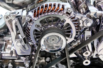Car engine. Concept of modern automobile motor on light background