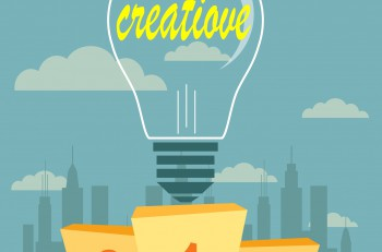 Vector illustration of Creative ideas proudly standing on the winning podium. Flat style