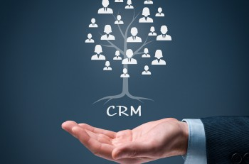 CRM and customers concept. CRM is a root of a tree in relationships with customers. Customers represented by icons.