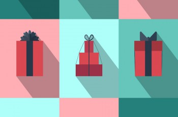 Flat gift box icon set with different bows. Gift wrapping. Gift wrap. Gift package. Flat gift box icon with long shadow.