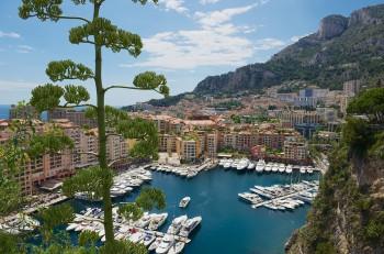 MONACO, MONACO - JUNE 17, 2015: View to Fontvieille and Monaco Harbor in Monaco.