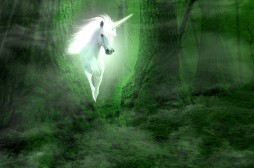 A picture of unicorn appearing from the forest
