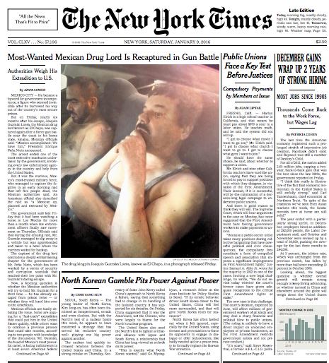 La recaptura de El Chapo en las portadas internacionales