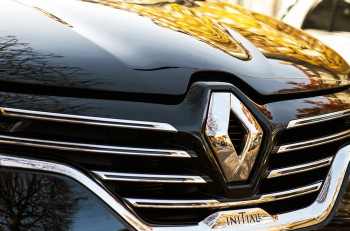 PARIS FRANCE - OCT 30 2015: Renault Initiale logo on a luxury sedan RENAULT ESPACE INITIALE PARIS. The Initiale logo is the flagship model and the most luxury one from Renault