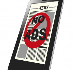 An smartphone showing an ad blocker with a prohibition sign. Spam advertising blocker