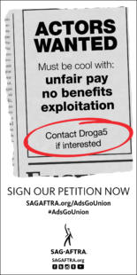El banner parte de la campaña contra Droga5. Fuente: SAG.