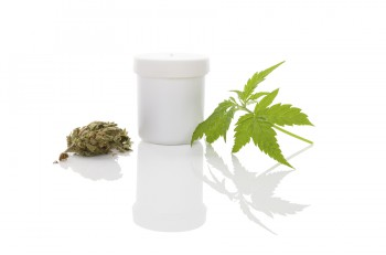 Medical marijuana. Cannabis bud and hemp leaf and white container isolated on white background with reflection
