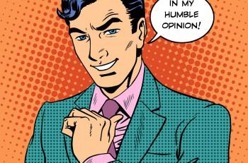 Businessman humble opinion handsome man. Retro style pop art