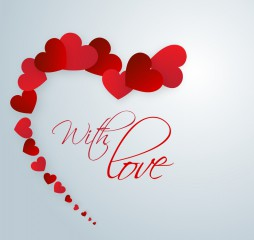 Happy Valentine's Day celebrations with glossy red hearts and text With Love on blue background.