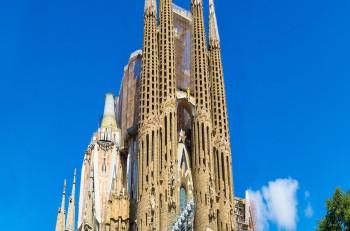 BARCELONA SPAIN - JUNE 11 : Sagrada Familia in Barcelona in Spain in a summer day on June 11 2014 in Barcelona Spain