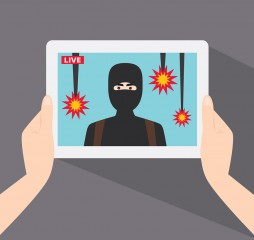 Terrorist show in live news. The terrorist on the tablet screen. Live news. The terrorist attack. Terrorist drops a bomb on civilians. Vector illustration