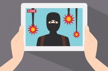 Terrorist show in live news. The terrorist on the tablet screen. Live news. The terrorist attack. Terrorist drops a bomb on civilians. Vector illustration