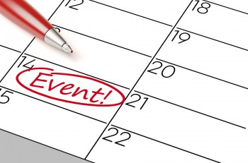 Event date in a calender marked red with a pen (3D Rendering)