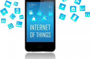 Smart phone with Internet of things (IoT) objects icon connecting together. Internet networking concept. Application coming out from Smart Phone white background. Internet of things