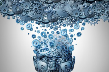 Upload your mind or uploading your brain concept as a human head made of mechanized gear and cog wheels being uploaded to a machine cloud server as an artificial intelligence symbol or neuroscience technology.