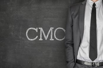 CMO on blackboard with businessman in a suit on side