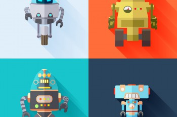 Set of four colored toy robots. Consists of a futuristic robot, retro robot, military robot and a toy robot.