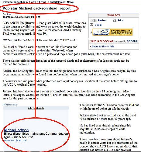 Boofalo Blues, usuario de Flickr, publicó en 2009 esta imagen en la que señalaba un artículo que promovía la venta de un concierto de Michael Jackson, cuando el artículo reportaba que había muerto. Imagen: Flickr.