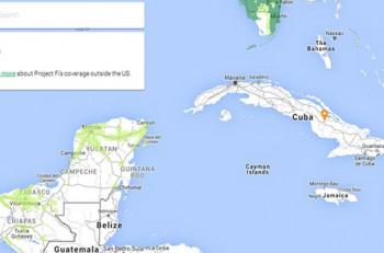 Cuba aparece en blanco dentro del mapa de Project Fi, como señal de que en la actualidad, no cuenta con infraestructura para la red de Google. Imagen: Project Fi.