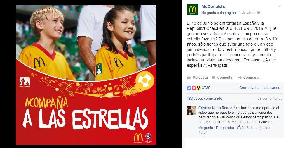 Imagen: Facebook McDonald's España