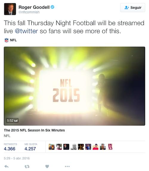 Twitter trasmitirá 10 partidos del Thursday Night Football