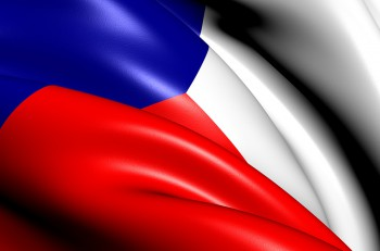Flag of Czech Republic. Close Up. Front View.