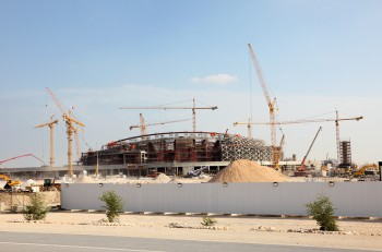 Construction of a stadium in the desert of Qatar Middle East