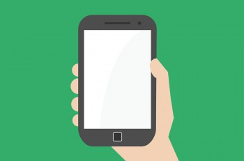 Simple flat hand holding vertically smartphone or phablet.