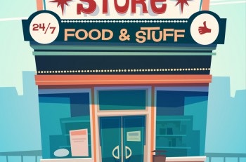 Grocery store facade. Vector illustration.