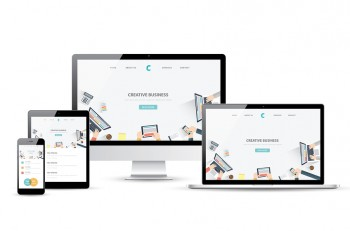 Laptop, tablet, smartphone and desktop computer with modern responsive web design.