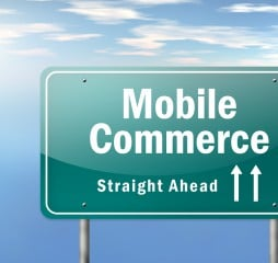 Image Graphic Highway Signpost with Mobile Commerce wording