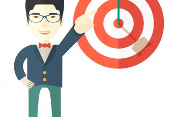 A japanese salesman happy standing while his hand pointing to the arrow from target pad shows that he hit his target sales. Business concept. A Contemporary style. Vector flat design illustration