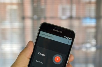 MONTREAL CANADA - APRIL 5 2016 : OK Google application on Android cell phone. OK Google is an application to get voice commands.