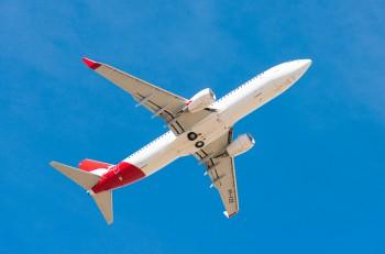 Hobart, Australia- Mar 13 2014: Image of a Qantas passenger airliner taking off from Hobart Airport