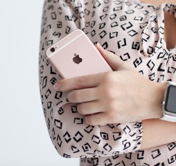Woman With Apple Watch Holding Iphone 6 S Rose Gold